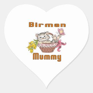 Adesivo Coração Mamã do gato de Birman