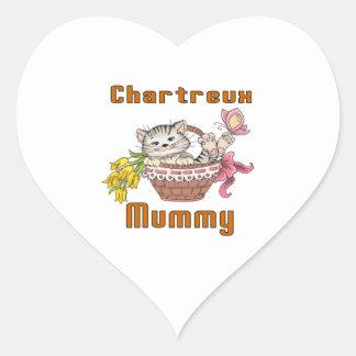 Adesivo Coração Mamã do gato de Chartreux