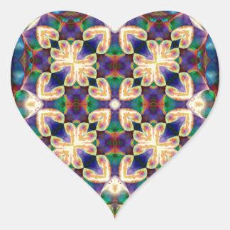 Adesivo Coração Mandala celta do vitral do coração do arco-íris