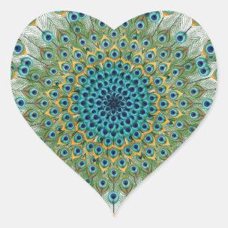 Adesivo Coração Mandala colorida do pavão masculino