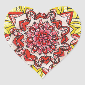 Adesivo Coração Mandala do arco-íris