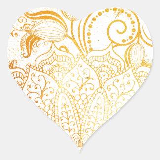 Adesivo Coração Mandala - escova dourada