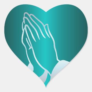 Adesivo Coração Mãos Praying perolados
