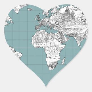 Adesivo Coração mapa do mundo 10