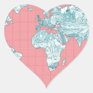 Adesivo Coração mapa do mundo 7