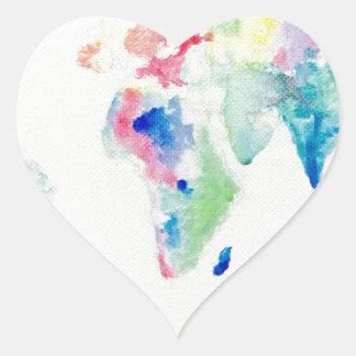Adesivo Coração mapa do mundo da cor de água