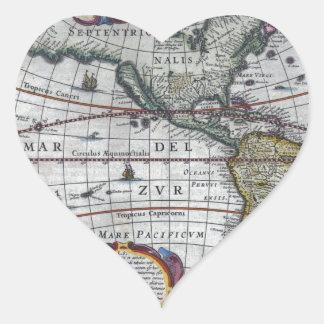Adesivo Coração mapa velho Americas