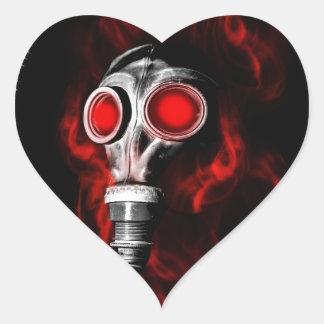 Adesivo Coração Máscara de gás