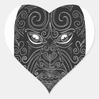 Adesivo Coração Máscara maori Scratchboard