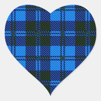 Adesivo Coração Material azul de lãs do Tartan