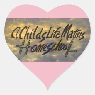 """Adesivo Coração """"Matérias da vida de uma criança"""", Homeschool!"""