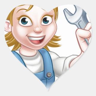 Adesivo Coração Mecânico ou canalizador fêmea com chave inglesa