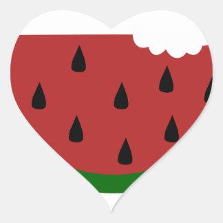 Adesivo Coração melancia mordida fruta da fatia da comida