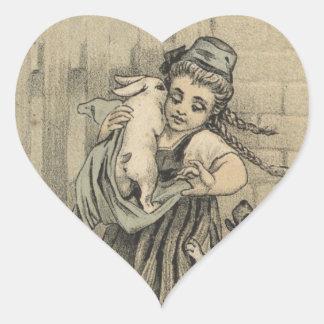 Adesivo Coração Menina que abraça o coelho