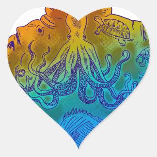 Adesivo Coração Mergulhador