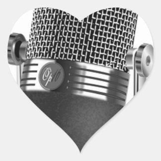 Adesivo Coração Microfone clássico