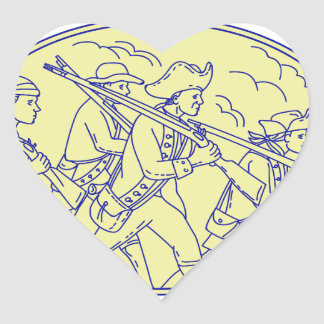 Adesivo Coração Mono oval de marcha dos soldados revolucionários