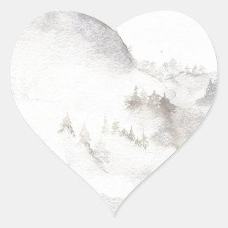 Adesivo Coração Montanhas enevoadas