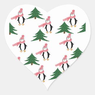 Adesivo Coração Muffin do pinguim do Natal