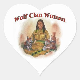 Adesivo Coração Mulher do clã do lobo