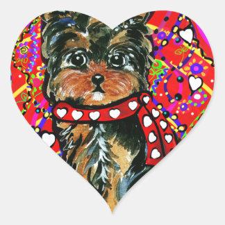 Adesivo Coração Namorados Yorkie Poo