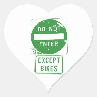 Adesivo Coração Não entre exceto bicicletas
