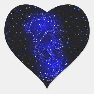Adesivo Coração natações do cavalo de mar nas luzes