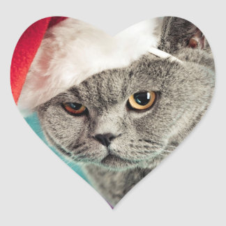 Adesivo Coração Natal cinzento do gato - gato do Natal - gato do