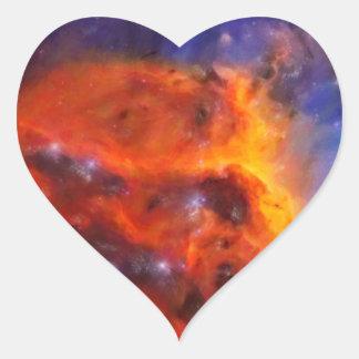 Adesivo Coração Nebulosa galáctica abstrata com nuvem cósmica 5