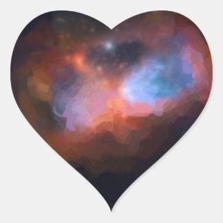 Adesivo Coração nebulosa galáctica abstrata nenhum 1