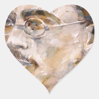 Adesivo Coração nietzsche de Friedrich - aguarela portrait.2