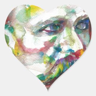 Adesivo Coração nietzsche de Friedrich - retrato da aguarela