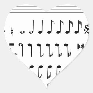 Adesivo Coração Notação musical