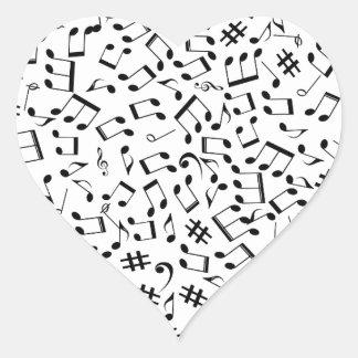 Adesivo Coração Notas da música