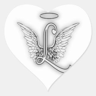 Adesivo Coração O alfabeto L letra inicial do anjo voa o halo
