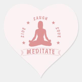 Adesivo Coração O amor vivo do riso Meditate texto fêmea (o rosa)