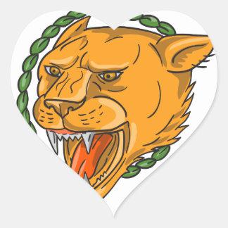 Adesivo Coração O anel da rosnadura da leoa sae do tatuagem