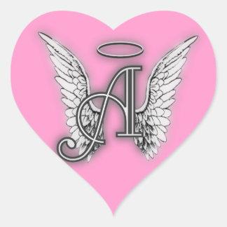 Adesivo Coração O anjo cor-de-rosa do coração voa o monograma