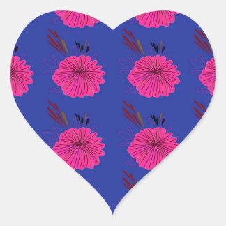 Adesivo Coração O design floresce o rosa azul