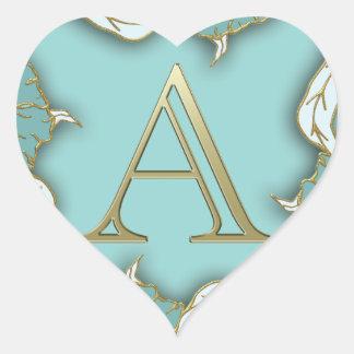 Adesivo Coração O melhor fundo do monograma da inicial da letra do
