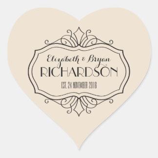 Adesivo Coração O monograma elegante do casamento escolhe sua