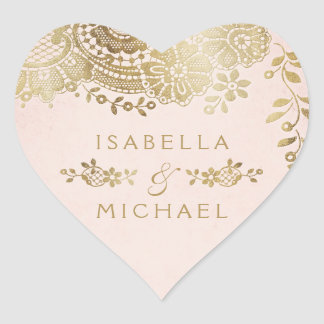 Adesivo Coração O ouro cora favor elegante do casamento do laço do