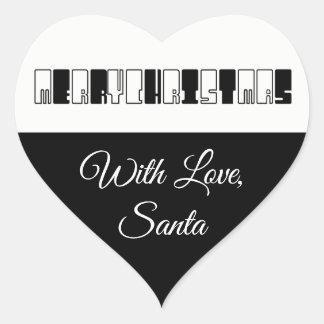 Adesivo Coração O piano do Feliz Natal fecha o branco preto da