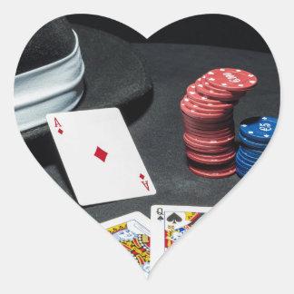 Adesivo Coração O póquer carda o chapéu do gângster