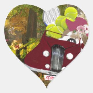 Adesivo Coração O primavera traz a alegria ao esporte do tênis