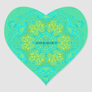 Adesivo Coração O #Resist protege a mandala do Anti-Trunfo do