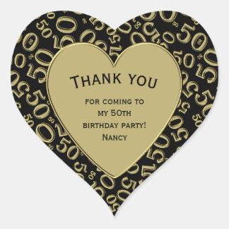 Adesivo Coração Obrigado - 50th preto do aniversário e coração do