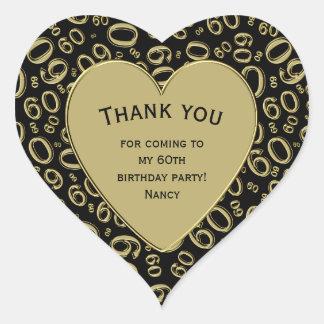 Adesivo Coração Obrigado - 60th preto do aniversário e coração do