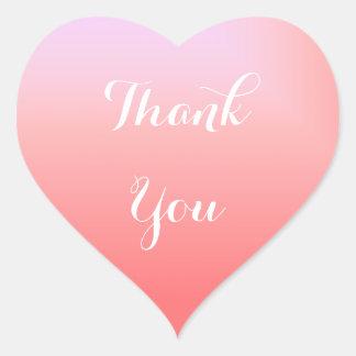 Adesivo Coração Obrigado cor-de-rosa de Ombre você