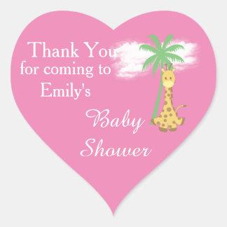 Adesivo Coração Obrigado cor-de-rosa do girafa do chá de fraldas